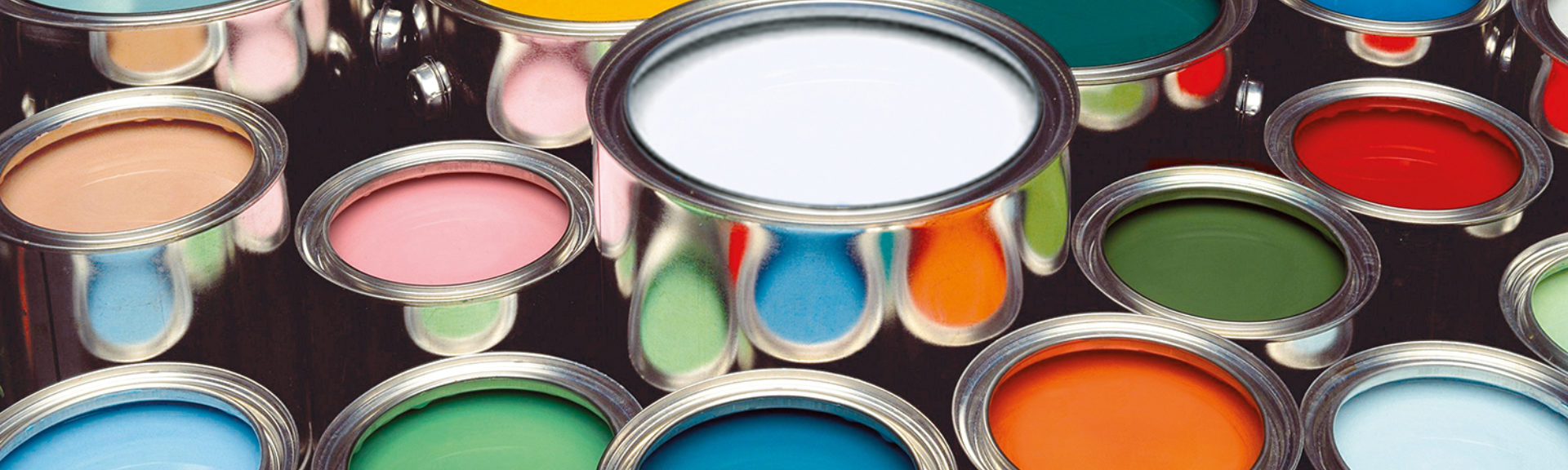 Cans of paint in multiple colors