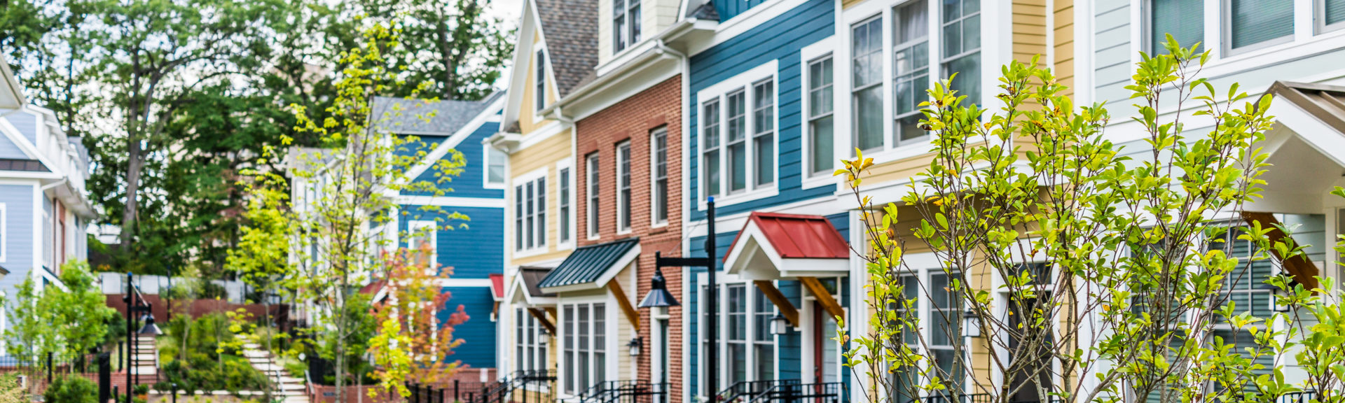 Colorful painted townhomes